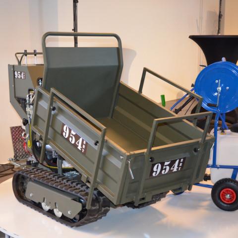 Mini-Raupentransporter mit Flachmulde, hydraulisch kippbar, mit abklappbaren Seitenwänden