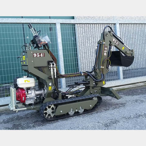 Tracked Minitransporter with Excavator and Hydraulic Stabilizer Blade